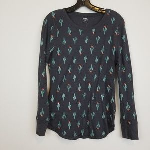 Old Navy kaktus print navy thermal top size L